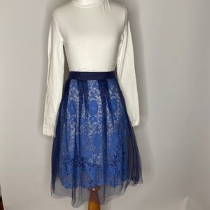 Self portrait style baby blue lace midi skirt